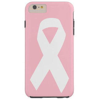 Cinta rosada y blanca de la conciencia funda de iPhone 6 plus tough