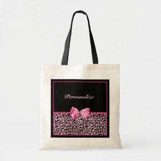 Cinta rosada y negra de moda de las rosas fuertes  bolsas lienzo