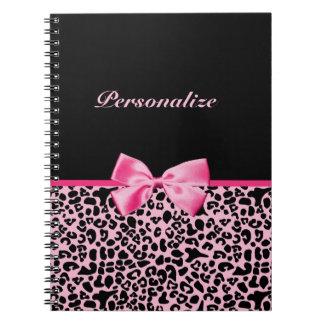 Cinta rosada y negra de moda de las rosas fuertes  cuaderno