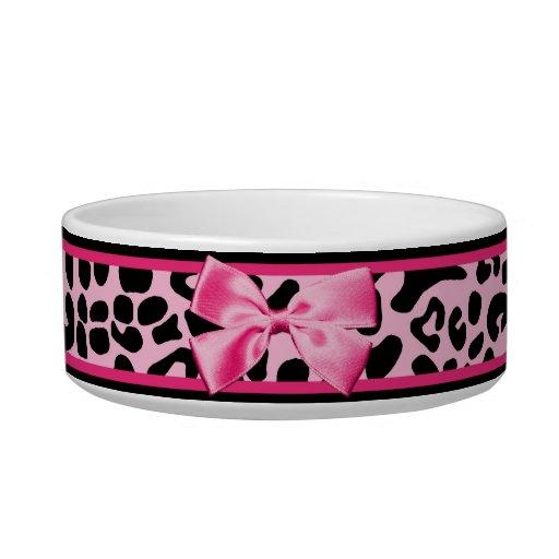 Cinta rosada y negra de moda de las rosas fuertes  tazones para comida para gato