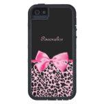 Cinta rosada y negra de moda de las rosas fuertes  iPhone 5 Case-Mate fundas