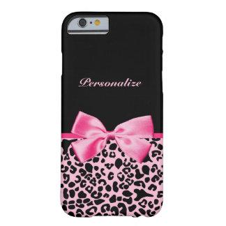 Cinta rosada y negra de moda de las rosas fuertes funda de iPhone 6 barely there