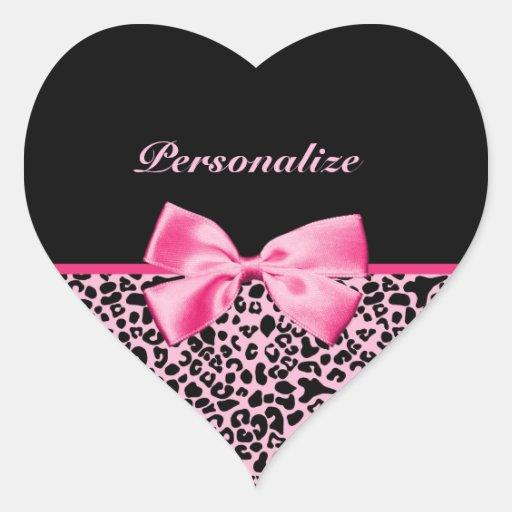Cinta rosada y negra de moda de las rosas fuertes calcomania de corazon personalizadas