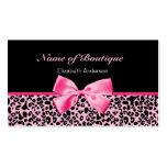 Cinta rosada y negra del boutique de moda del leop plantilla de tarjeta de negocio