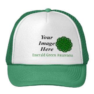 Cinta Tmpl de la flor del verde esmeralda de K. Gorra