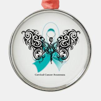 Cinta tribal de la mariposa del cáncer de cuello adorno navideño redondo de metal