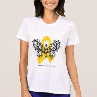 Cinta tribal de la mariposa del cáncer de la niñez playeras
