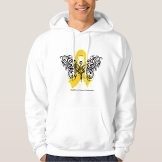 Cinta tribal de la mariposa del cáncer de la niñez sudadera