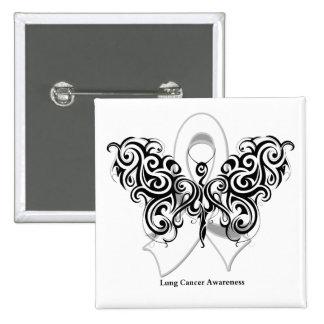 Cinta tribal de la mariposa del cáncer de pulmón pin cuadrado