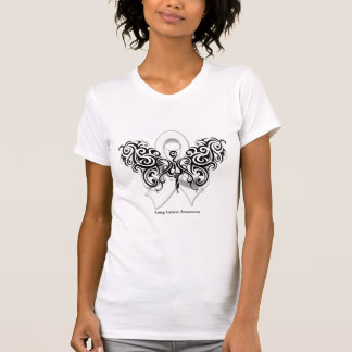 Cinta tribal de la mariposa del cáncer de pulmón remera