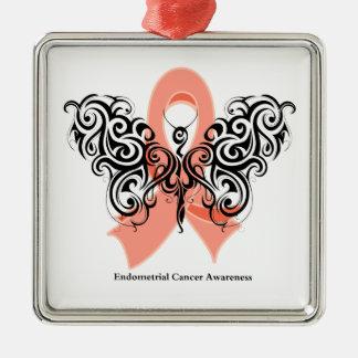 Cinta tribal de la mariposa del cáncer endometrial adorno navideño cuadrado de metal