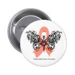 Cinta tribal de la mariposa del cáncer endometrial pin redondo 5 cm