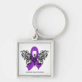 Cinta tribal de la mariposa del cáncer pancreático llavero