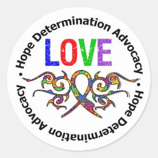 Cinta tribal del amor del autismo etiquetas redondas