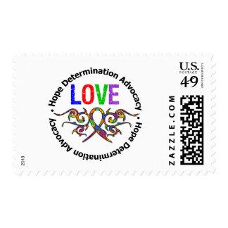 Cinta tribal del amor del autismo sellos postales