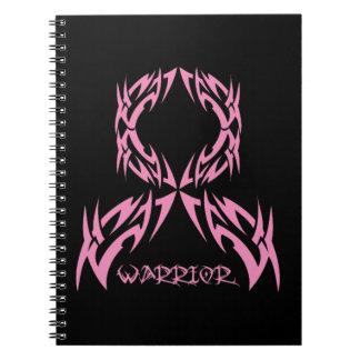 Cinta tribal del guerrero del cáncer de pecho libro de apuntes con espiral