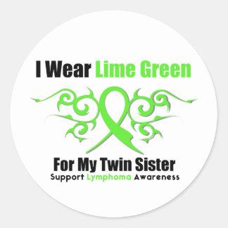 Cinta tribal del linfoma para mi hermana gemela pegatinas redondas