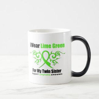 Cinta tribal del linfoma para mi hermana gemela tazas de café