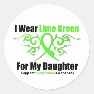 Cinta tribal del linfoma para mi hija etiquetas redondas
