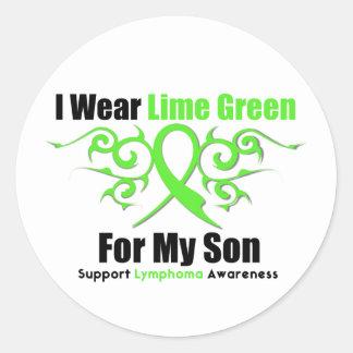 Cinta tribal del linfoma para mi hijo pegatinas redondas