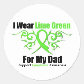 Cinta tribal del linfoma para mi papá pegatina redonda
