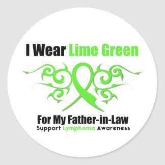Cinta tribal del linfoma para mi suegro pegatina redonda