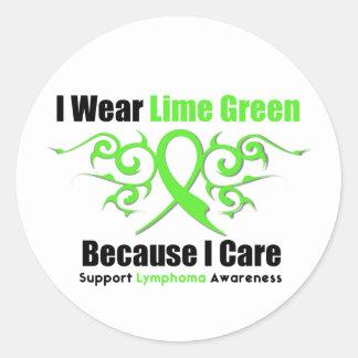Cinta tribal del linfoma porque cuido pegatina redonda