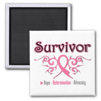Cinta tribal del superviviente del cáncer de pecho imán cuadrado