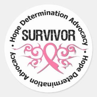 Cinta tribal del superviviente del cáncer de pecho pegatina redonda