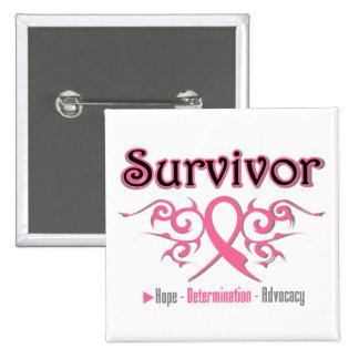 Cinta tribal del superviviente del cáncer de pecho pin cuadrado
