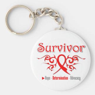 Cinta tribal del superviviente del cáncer de sangr llavero redondo tipo pin