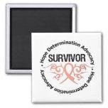 Cinta tribal del superviviente del cáncer endometr imán de nevera