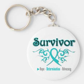 Cinta tribal del superviviente del cáncer ovárico llaveros