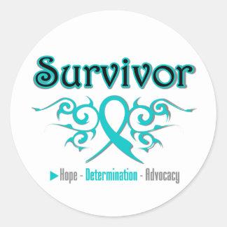 Cinta tribal del superviviente del cáncer ovárico pegatinas redondas