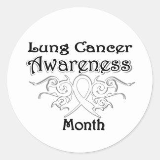 Cinta tribal - mes de la conciencia del cáncer de pegatina redonda