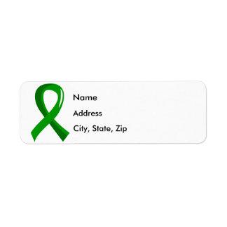 Cinta verde 3 de la donación de órganos etiqueta de remite