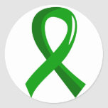 Cinta verde 3 de la donación de órganos etiquetas redondas