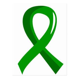 Cinta verde 3 de la donación de órganos tarjetas postales