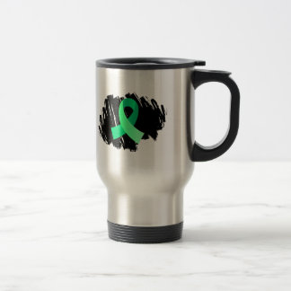 Cinta verde clara de la enfermedad celiaca con gar taza de viaje de acero inoxidable