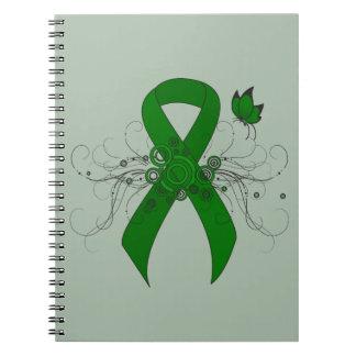 Cinta verde con la mariposa spiral notebook