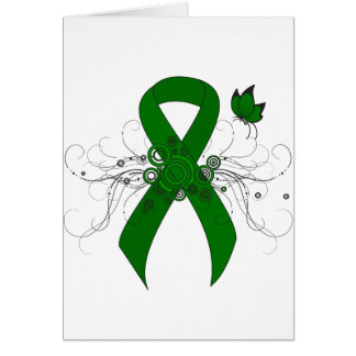 Cinta verde con la mariposa tarjeta pequeña