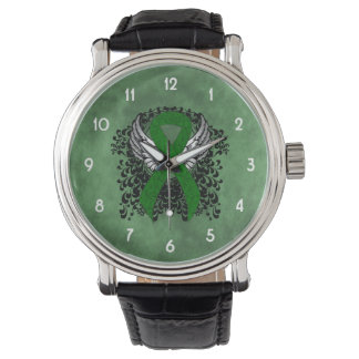 Cinta verde con las alas relojes de pulsera