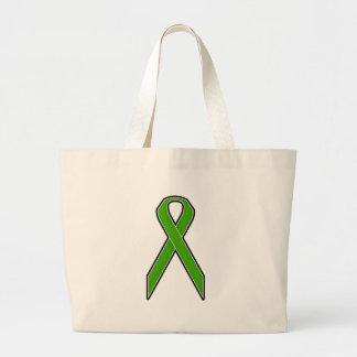 Cinta verde de la conciencia bolsa tela grande