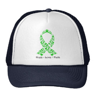 Cinta verde de la conciencia de la esperanza gorras de camionero