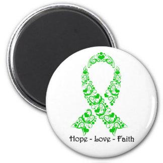 Cinta verde de la conciencia de la esperanza imán redondo 5 cm