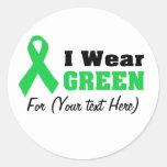 Cinta verde de la conciencia etiqueta redonda