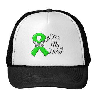 Cinta verde de la conciencia para mi héroe gorros bordados