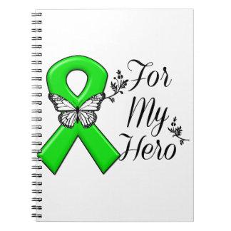 Cinta verde de la conciencia para mi héroe libros de apuntes con espiral