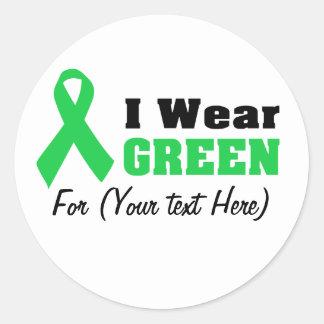 Cinta verde de la conciencia pegatina redonda