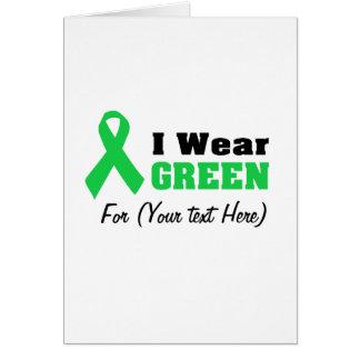 Cinta verde de la conciencia tarjeta de felicitación